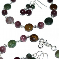 Natural stone Indian Agate bracelet and earrings set