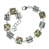 Square cut Czech glass Art Deco bracelet, artisan designer handmade jewellery