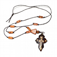 Wood cross knotted cord tribal style necklace, religious etched cross necklace