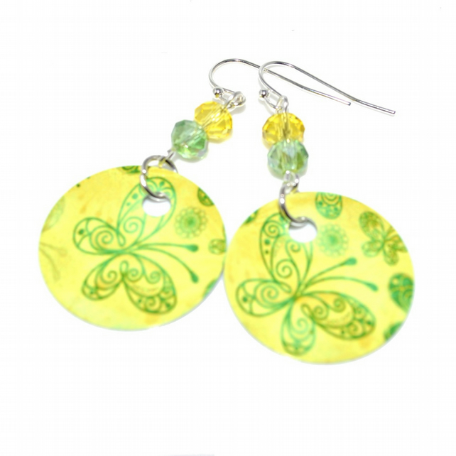 Yellow and Green butterfly earrings, heat printed aluminium earrings