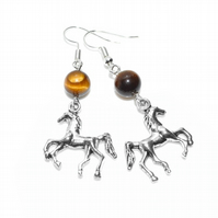 Tigers Eye and horse charm earrings, equestrian earrings