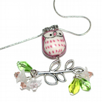 Pink porcelain owl necklace with crystals