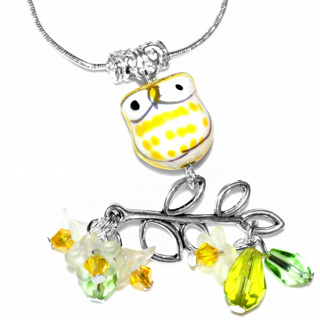 Yellow porcelain owl necklace with crystals