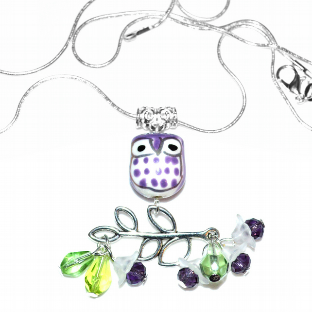 Purple porcelain owl necklace with crystals