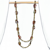 Red Murano glass necklace, foiled bead necklace