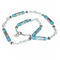 Blue Murano glass and butterfly necklace