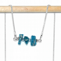 Raw Apatite gemstone necklace, chip bar necklace