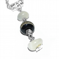 Moonstone and lampwork glass necklace, June birthstone necklace