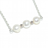 Triple Baroque Pearl bead necklace, June birthstone necklace
