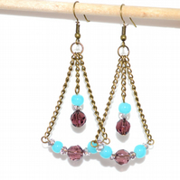 Purple and blue chandelier earrings, antique bronze earrings, Summer dangle drop