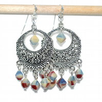 Pastel porcelain chandelier earrings, red blue and yellow diamond bead earrings