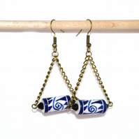 Peruvian chandelier earrings, blue ceramic earrings, delft blue drop earrings