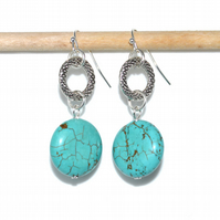 Turquoise earrings, artisan designer jewellery, sterling silver earrings
