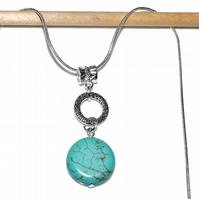Turquoise necklace, artisan designer jewellery, sterling silver necklace