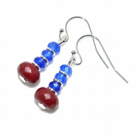 Sapphire and ruby gemstone earrings, September and July birthstone gift
