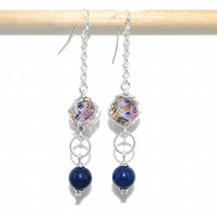Lapis Lazuli earrings, rose glass earrings