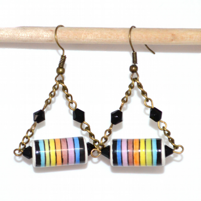 Peruvian chandelier earrings, rainbow ceramic earrings, striped drop earrings