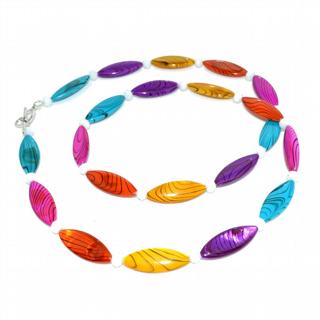 Long necklace with bright colourful shell beads