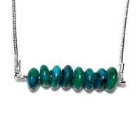 Chrysocola gemstone bar necklace