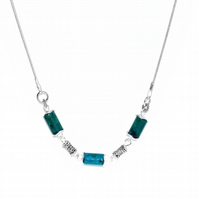 Chrysocola gemstone swing necklace
