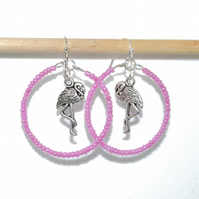 Pink flamingo hoop earrings