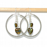 Glass heart bead hoop earrings