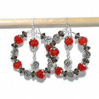 Yin Yang red and black hoop earrings