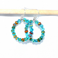 Blue foiled glass hoop earrings