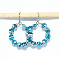 Silver and blue foiled glass hoop earrings