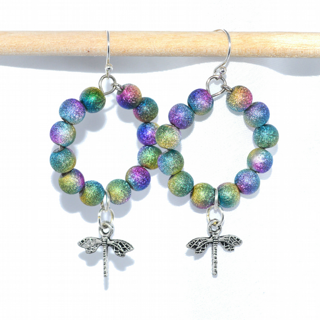 Rainbow stardust dragonfly hoop earrings