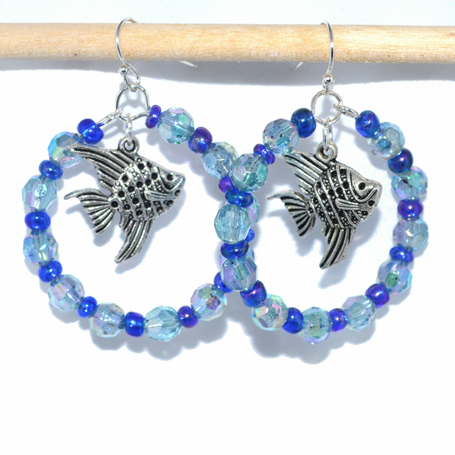 Angel fish and blue bead hoop earrings