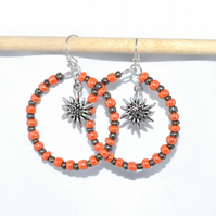 Orange and copper sunflower hoop earrings