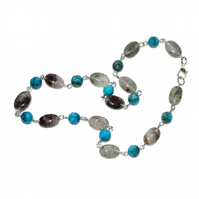 Blue agate and Grey Quartz Rusted Pyrite choker necklace