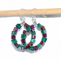 Hoop earrings with Ruby red and Emerald green glass cubes