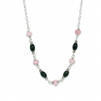 Rose Quartz and Tourmaline necklace, October birthstone necklace