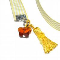 Yellow ribbon crystal butterfly and tassel bookmark
