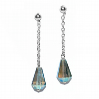Long chain stud crystal earrings