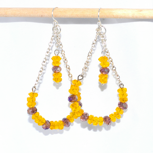 Long Saffron yellow chandelier earrings
