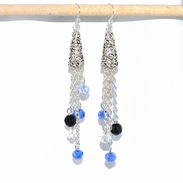 Long drop Moroccan cone cascade earrings