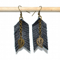 Leather and bronze leaf earrings, Bohemian natural material earrings