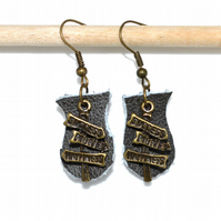 Leather and bronze signpost charm earrings, rustic quirky earrings