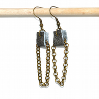 Leather cuff and bronze chain earrings, rustic quirky earrings