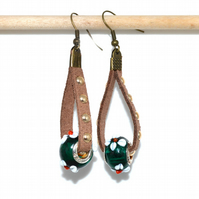 Brown studded leather and green glass bronze earrings, rustic quirky earrings