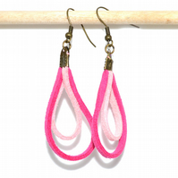 Hot pink suede loop bronze earrings, rustic quirky earrings