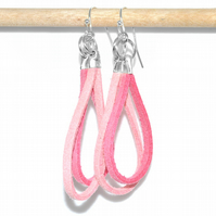 Light pink suede loop silver earrings, fun modern quirky earrings