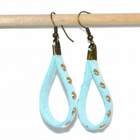 Pale blue studded suede loop bronze earrings, rustic quirky earrings