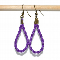 Purple braided leather loop bronze earrings, fun quirky earrings