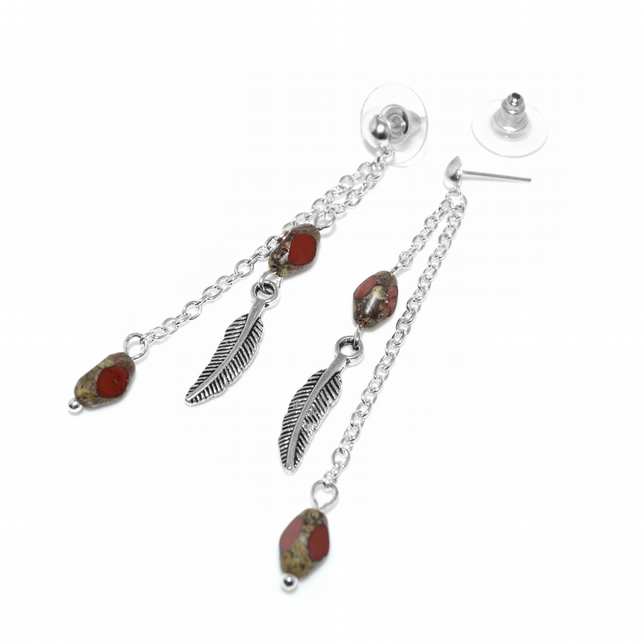 Garnet and feather stud dangle earrings
