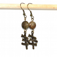 Indian agate signpost charm bronze earrings