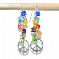 Rainbow peace cluster bead crystal cube earrings